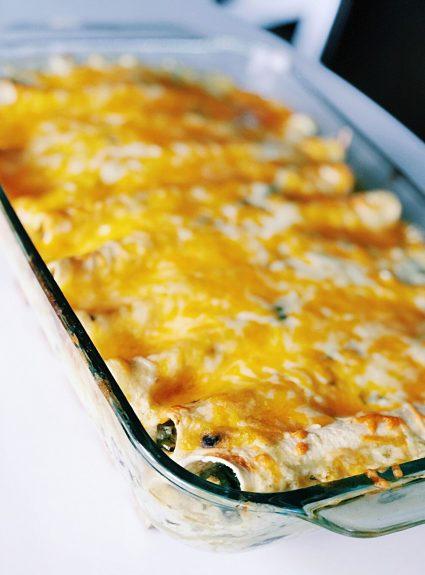 Easy, Cheesy Spinach & Black Bean Enchiladas