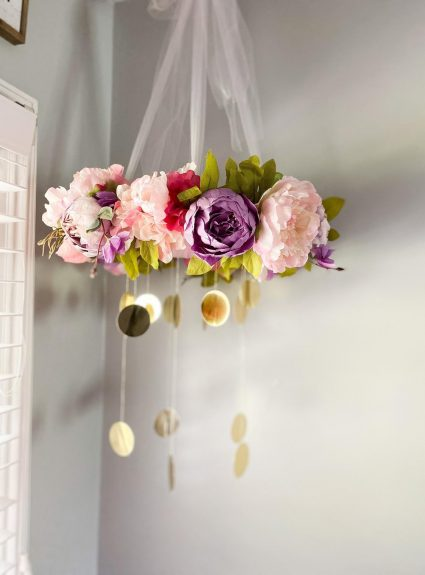 A Pink and Lavender Floral Mobile for a Sweet Girl Nursery