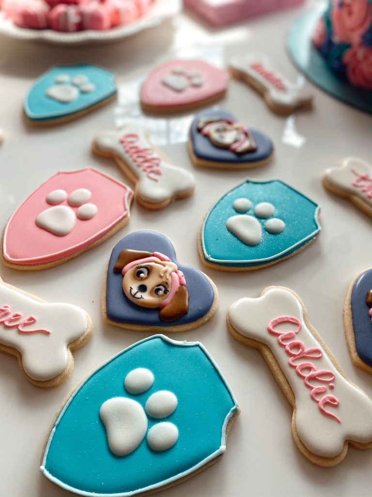 Paw Patrol sugar cookies for a girly 3rd birthday party