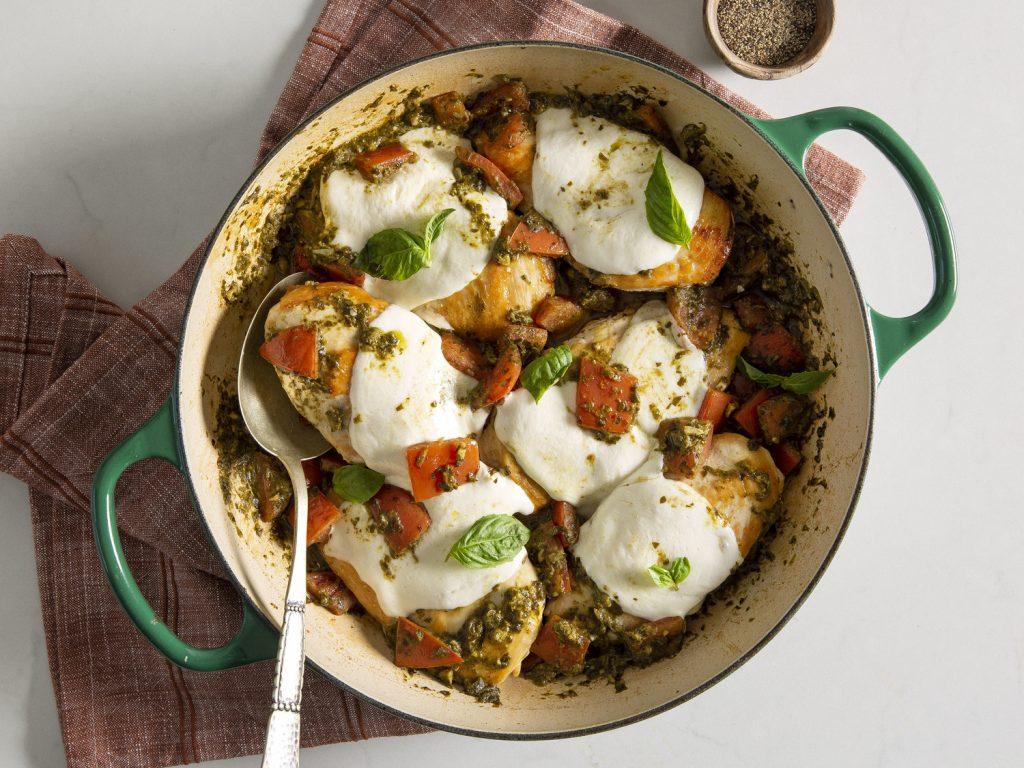 Smothered Tomato Pesto chicken recipe
