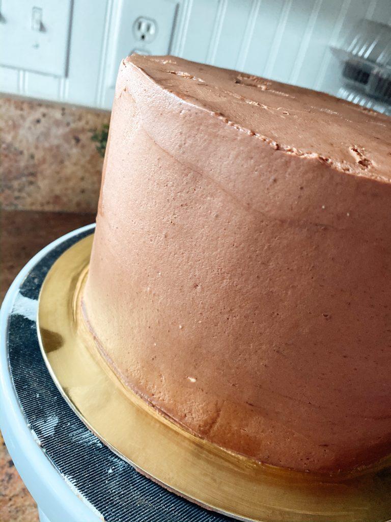 Bakery Style Chocolate Buttercream on a cake