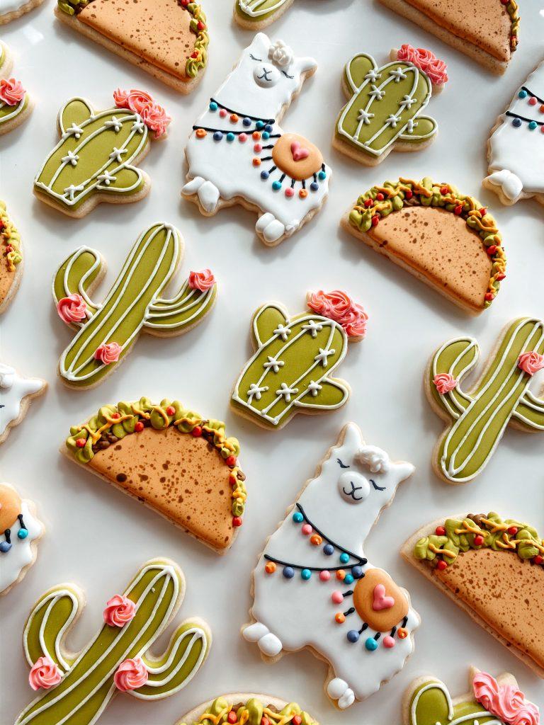 Llama themed sugar cookie set