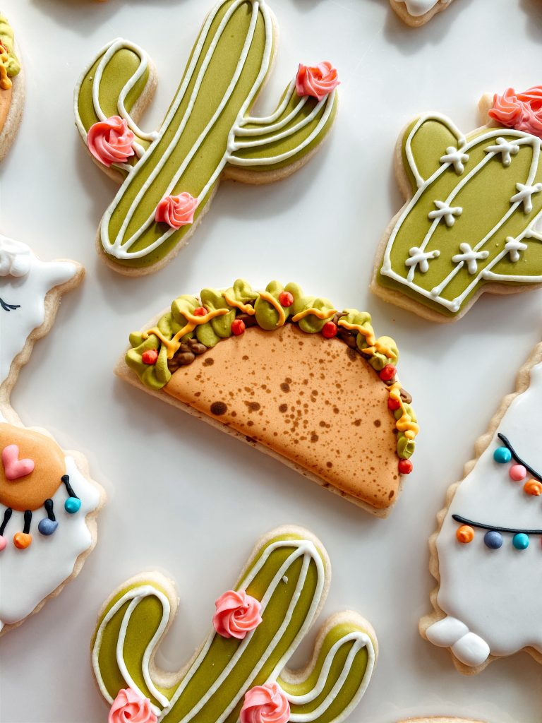 The cutest taco decorated sugar cookies