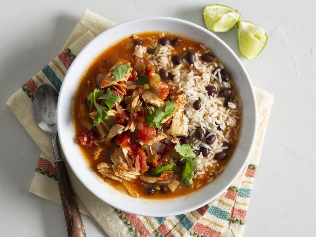 Chipotle Chicken and Rice Soup Black Bean-Cilantro Rice and Tortilla Chips