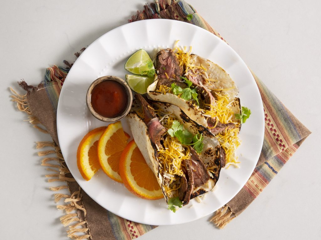 Grilled Flank Steak Tacos Cilantro-Lime Rice and Orange Slices recipe
