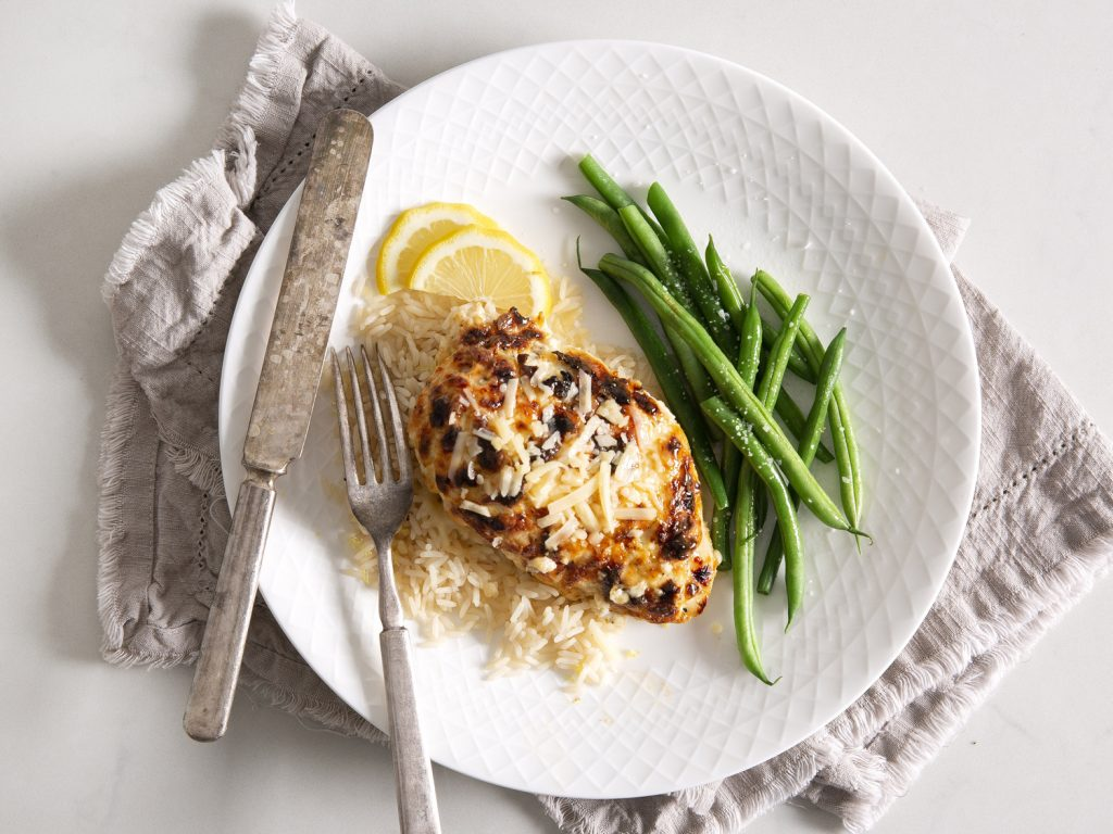 Melt-in-Your-Mouth Chicken withLemon Rice Pilaf and Steamed Green Beans Recipe