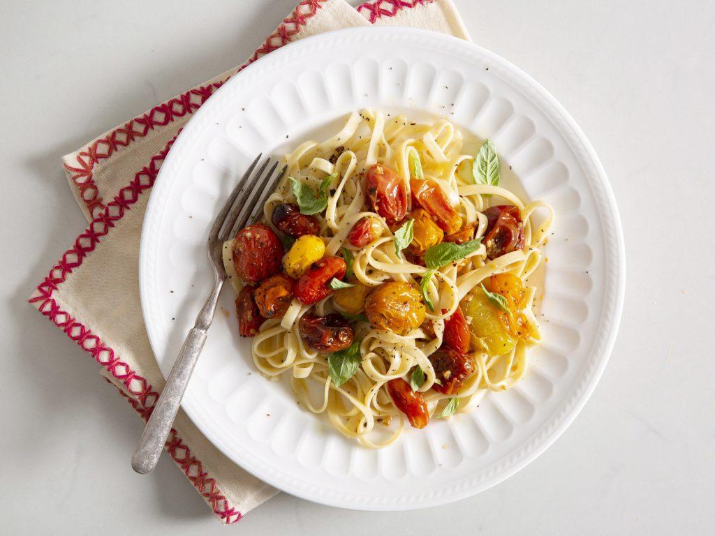 Oven-Roasted Tomato Pasta with Zesty Italian Salad Recipe
