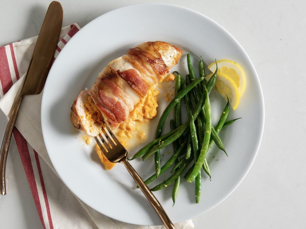 Pimiento Cheese-Stuffed Chicken Lemon-Butter Green Beans Easy Meal Planning Recipe