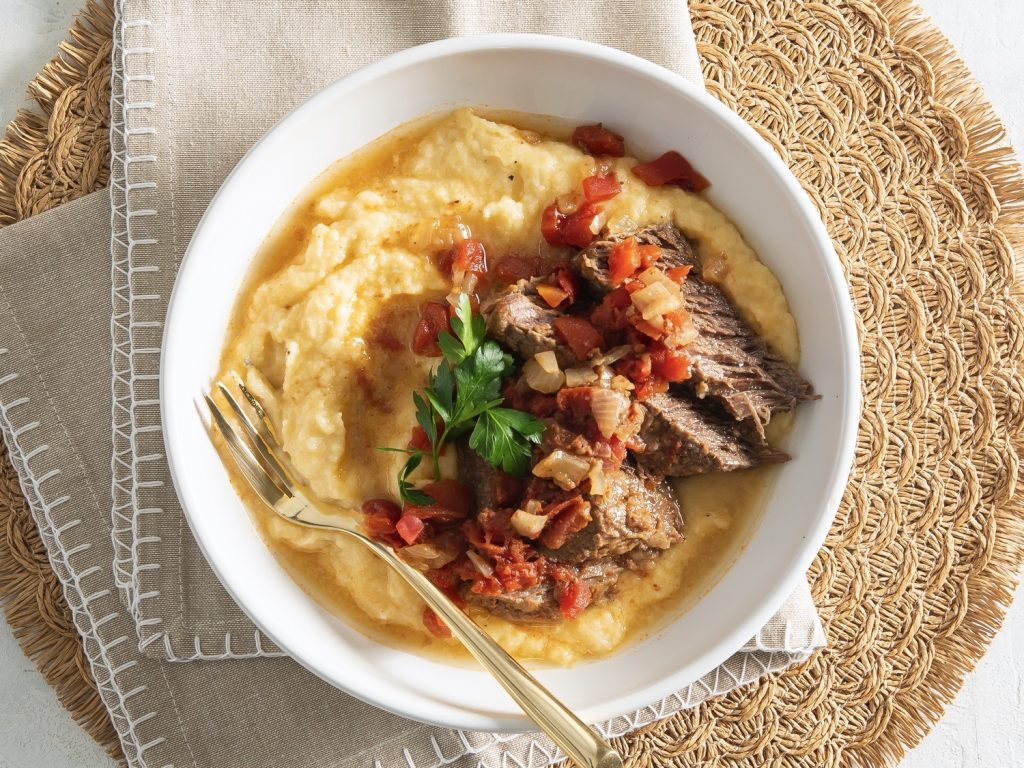 Slow-Cooker Grillades Cheddar Cauli-Grits Easy Low Carb Recipe
