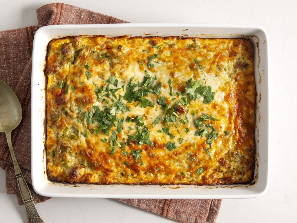 Tex-Mex Breakfast Casserole withHoney-Lime Fruit Salad and Bluberry Muffins
