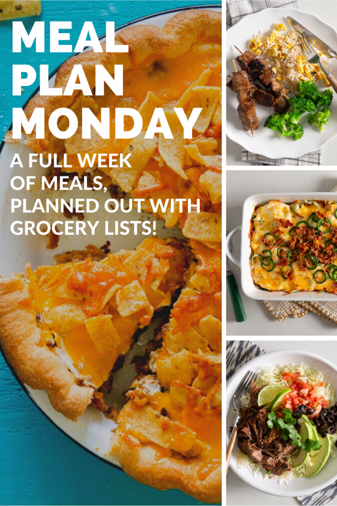 A full week of meals, planned out with grocery lists!