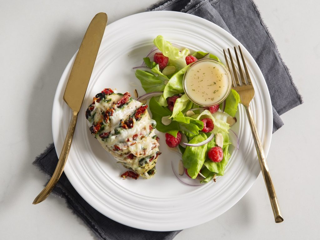 Spinach and Sun-Dried Tomato Hasselback Chicken withButter Lettuce Salad