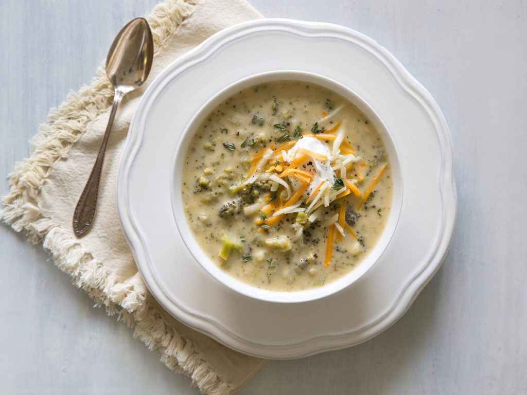 Broccoli-Cheddar Soup withStrawberry-Spinach Salad recipe