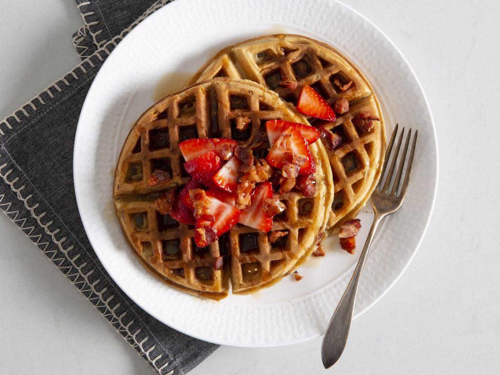 Brown Sugar-Bacon Waffles withFresh Strawberries Recipe