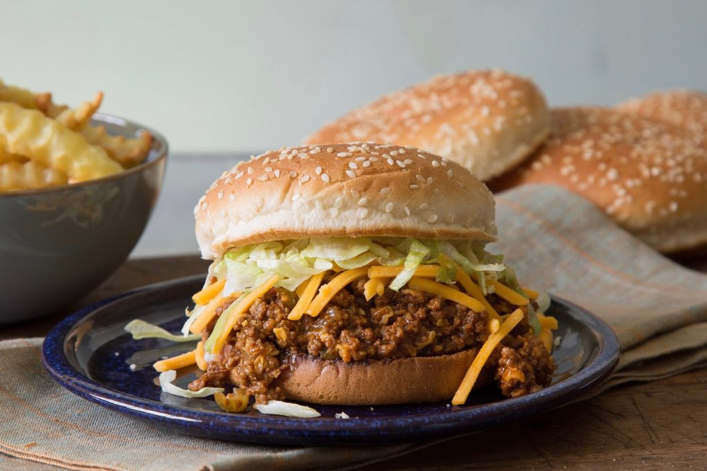 Cheesy-Dill Pickle Sloppy Joes withSweet Potato Fries Recipe