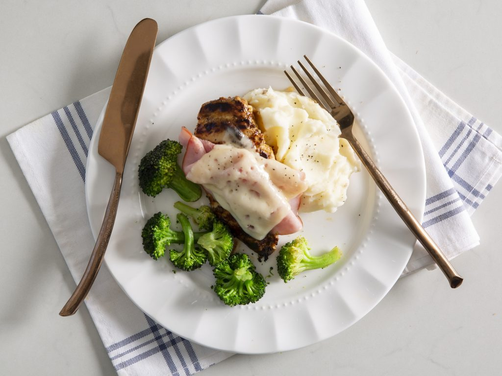 Grilled Chicken Cordon Bleu withMashed Potatoes and Broccoli