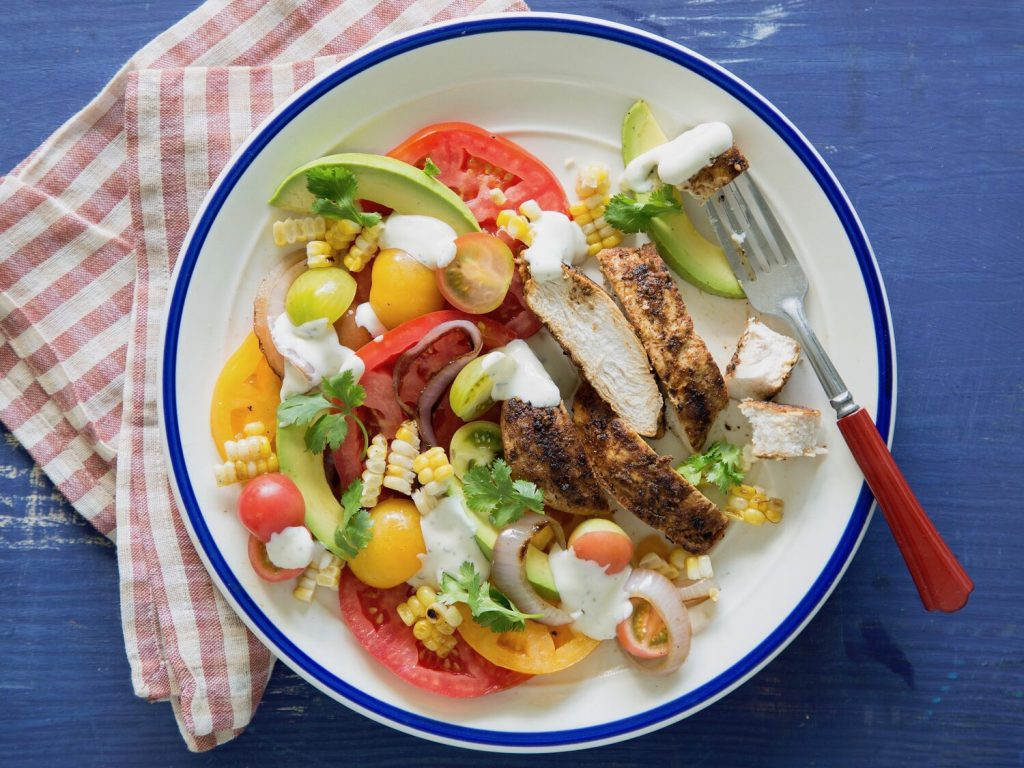 Grilled Chicken with Colorful Tomato-Corn Salad