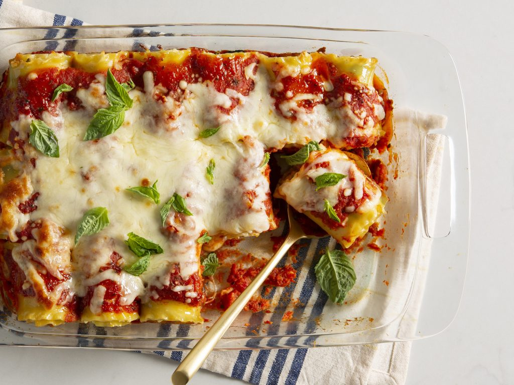 Lasagna Roll-Ups withCaesar Salad and Garlic Bread