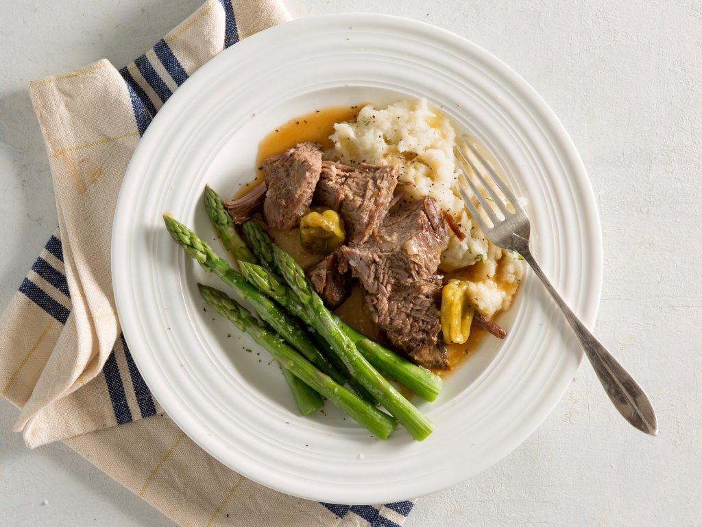 Mississippi Pot Roast Mashed Cauliflower and Asparagus recipe
