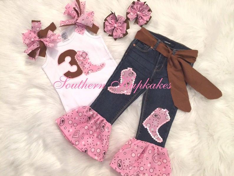 Girls Birthday Western Wear Pink & Brown Bandanna Country Cowgirl 5pc. Set