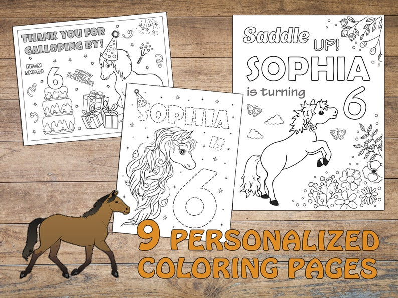 Horse Birthday Party Coloring Pages