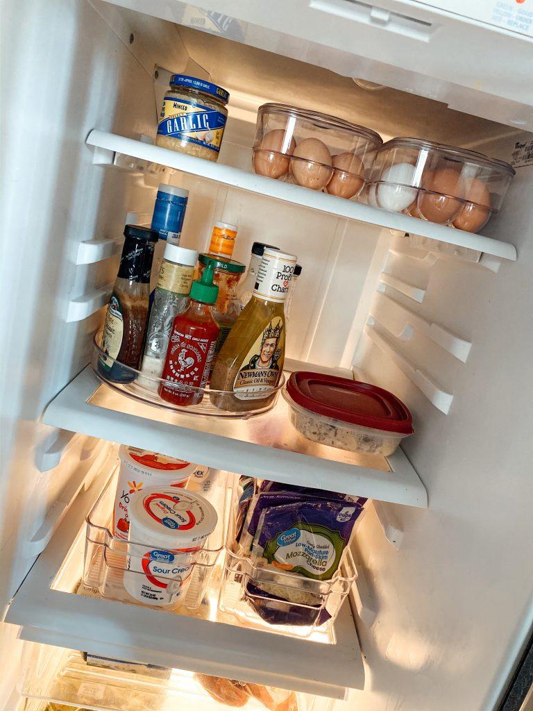 organized refrigerator with lazy Susan