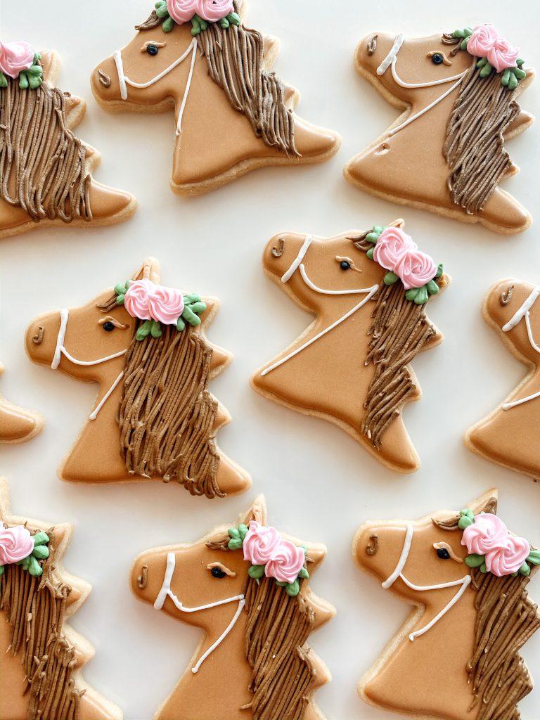 Pretty Floral Horse Sugar Cookies