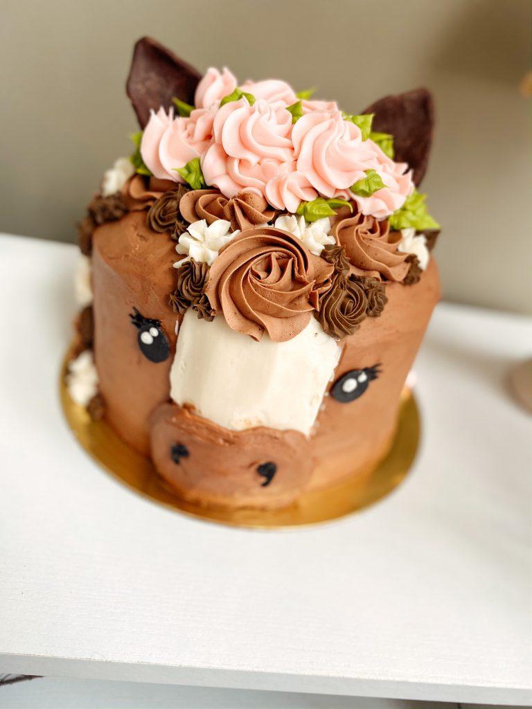 floral Horse birthday cake