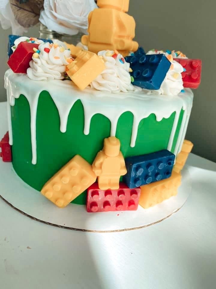Lego Cake with edible LEGOs