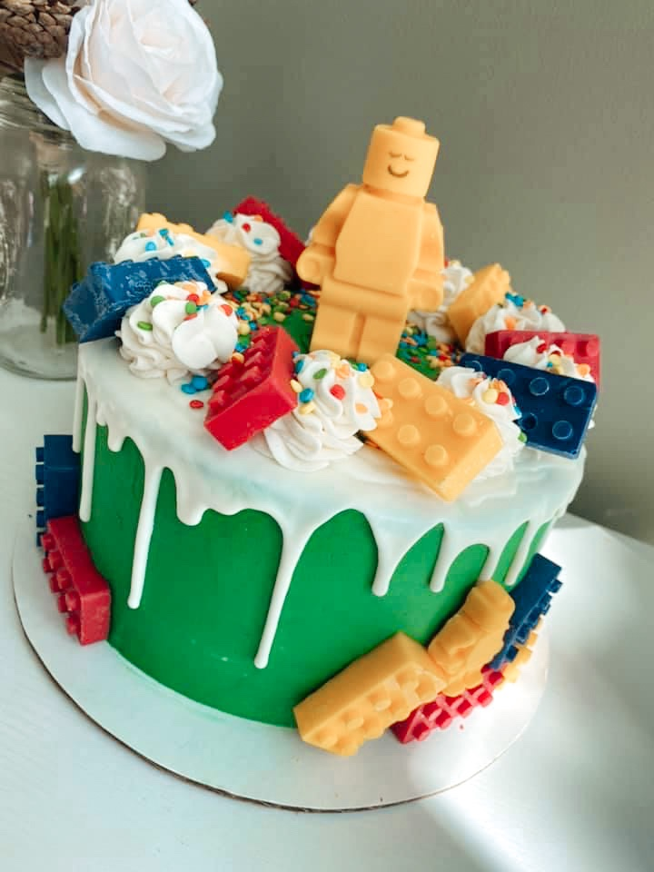 Lego Cake with edible LEGOs and drip