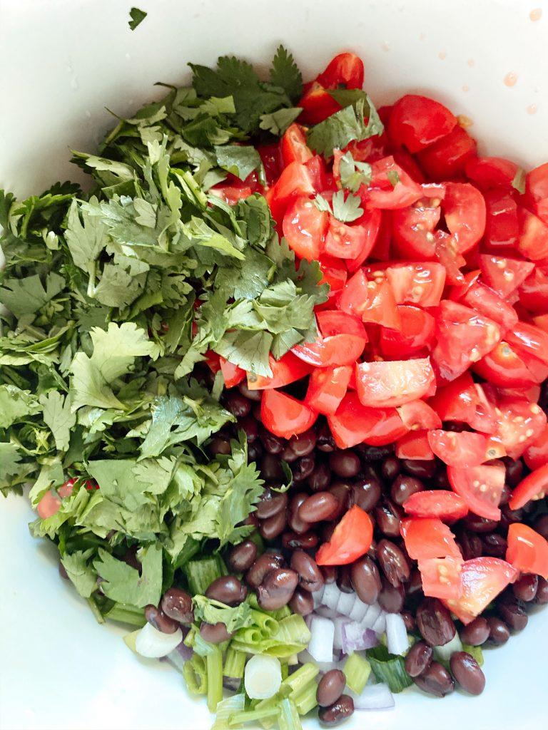 Cilantro, tomato, black beans and onions