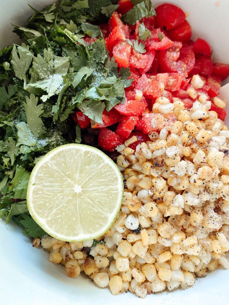 Lime, cilantro, tomato and corn