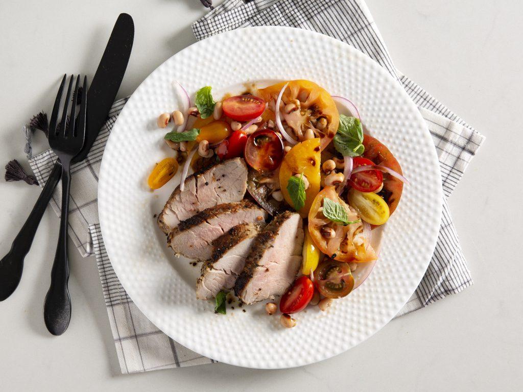 Pepper-Garlic Pork Tenderloin withTomato-Black-Eyed Pea Salad