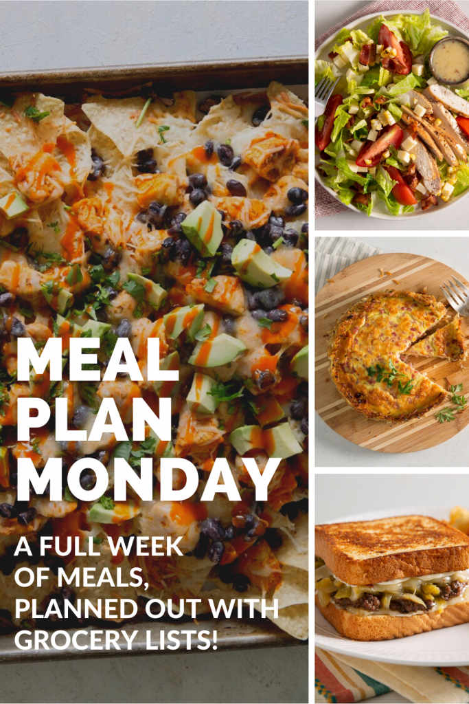A full week of delicious meals, planned out with grocery lists!