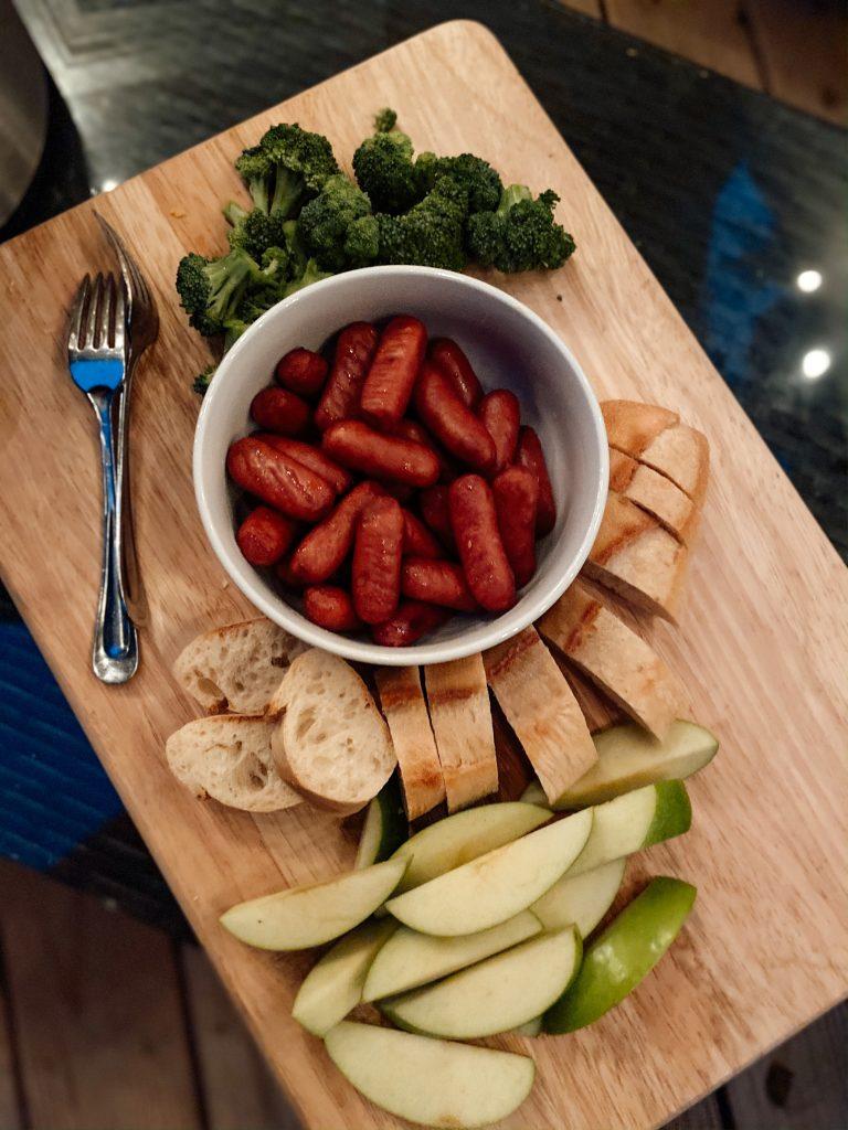 Charcuterie board for fondue