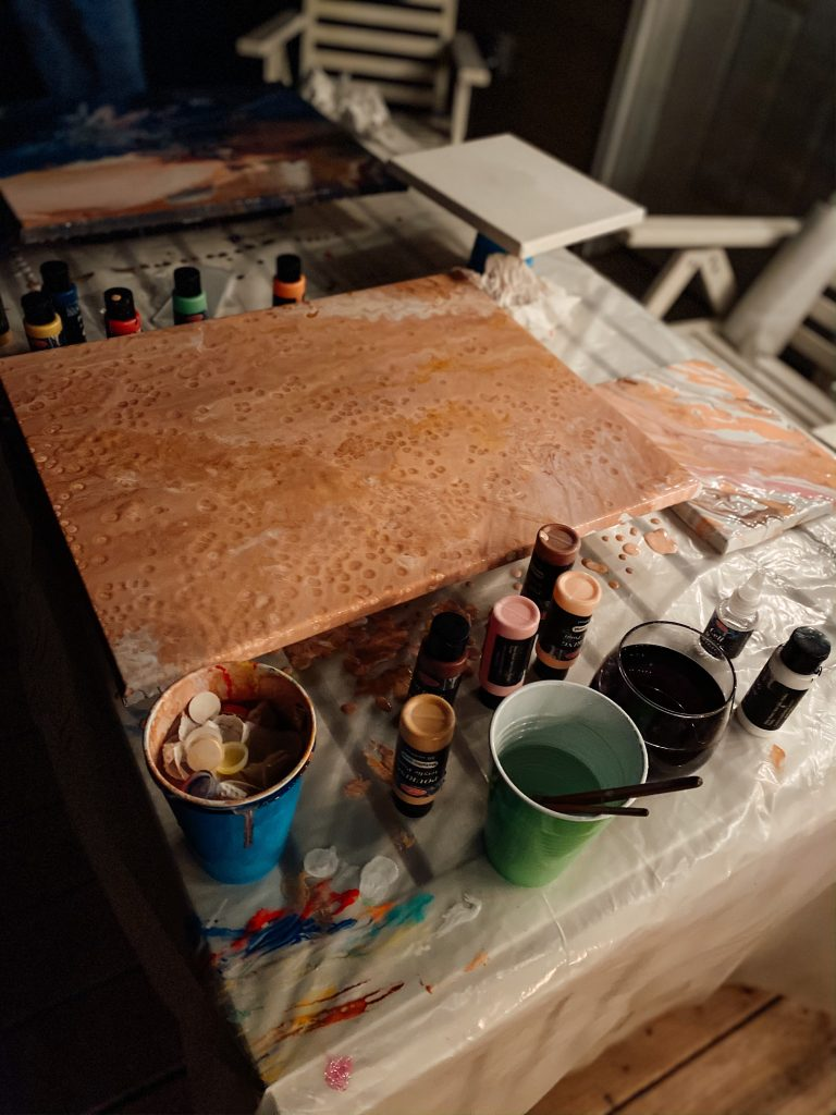 Pour Painting with blush and gold