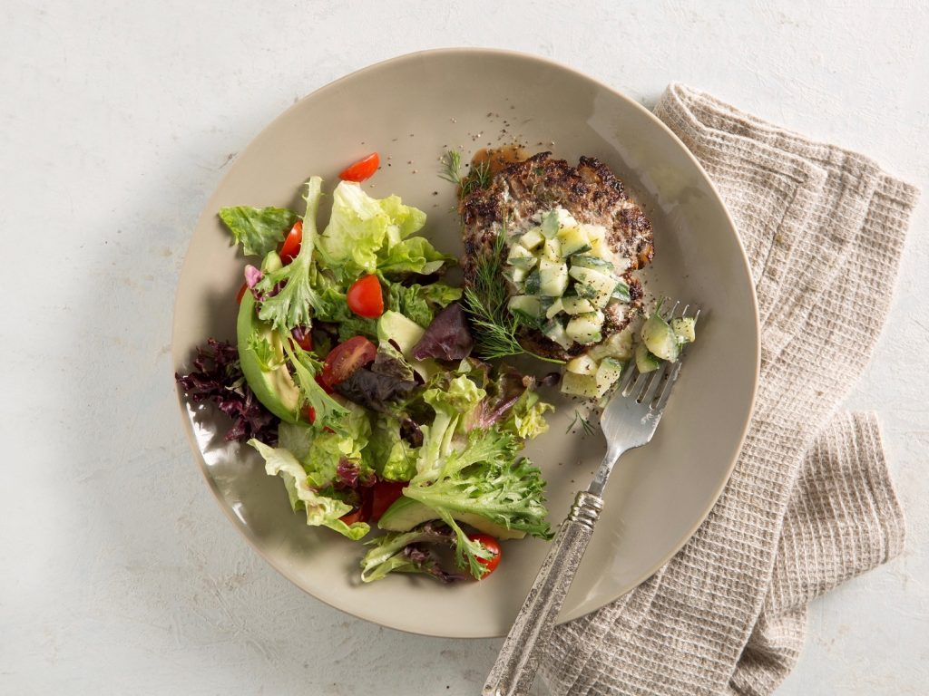Dilly Beef Burgers withMixed Greens Salad