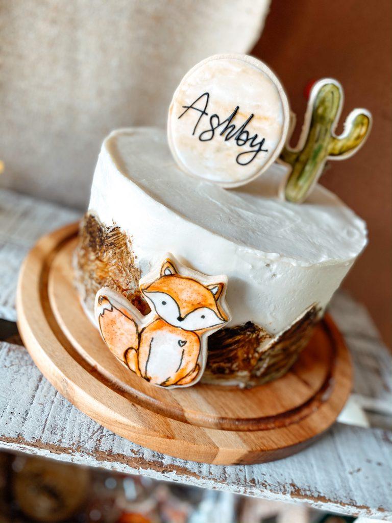 Watercolor Fox and Cactus Cake