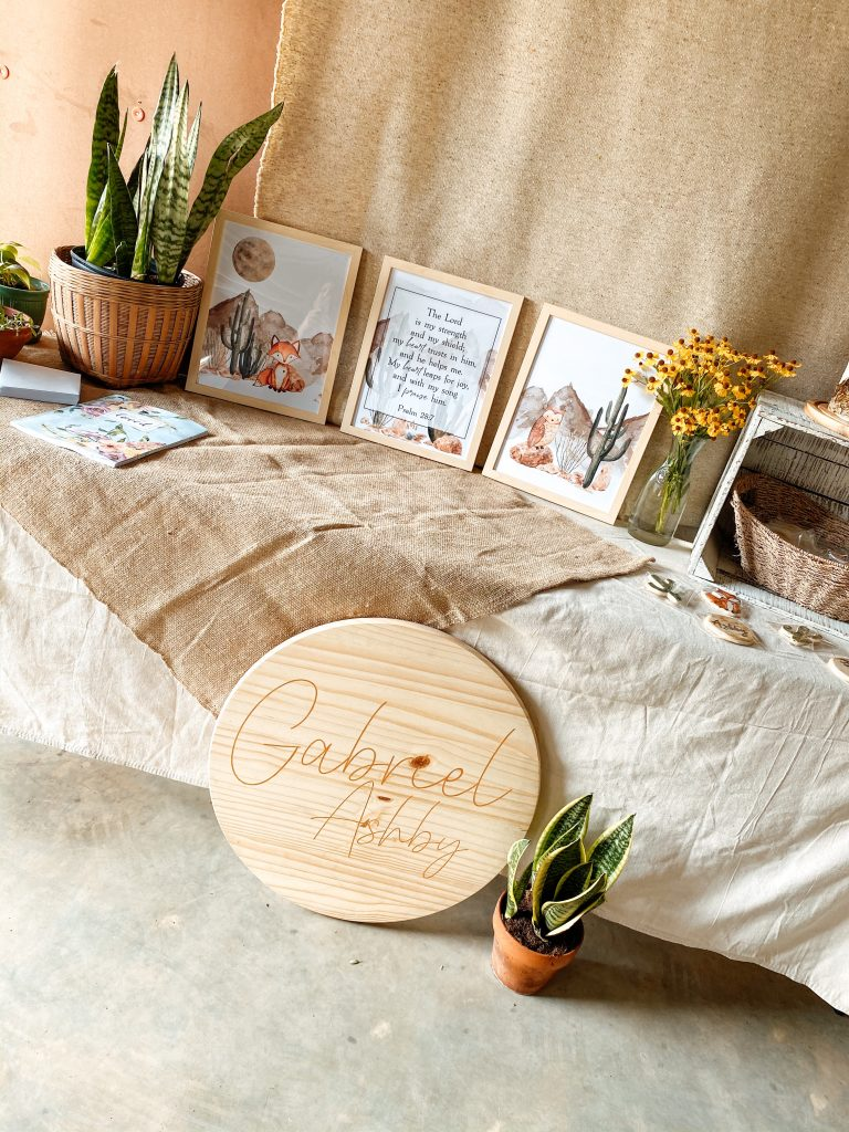 Watercolor Fox Baby Shower Set Up